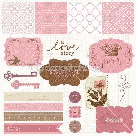 Scrapbook design elements - Vintage Love Set — Stock Illustration #6910434