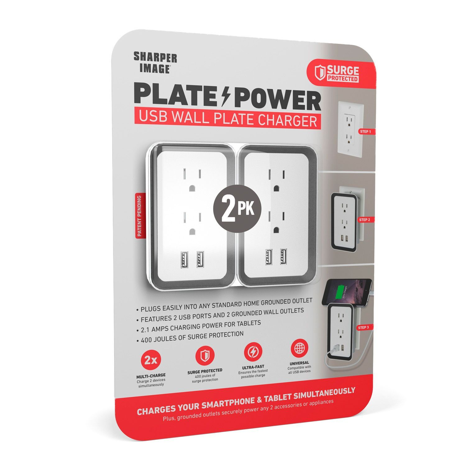 Sharper Image Plate Power Usb Wall Plate Charger 2 Pack Sams