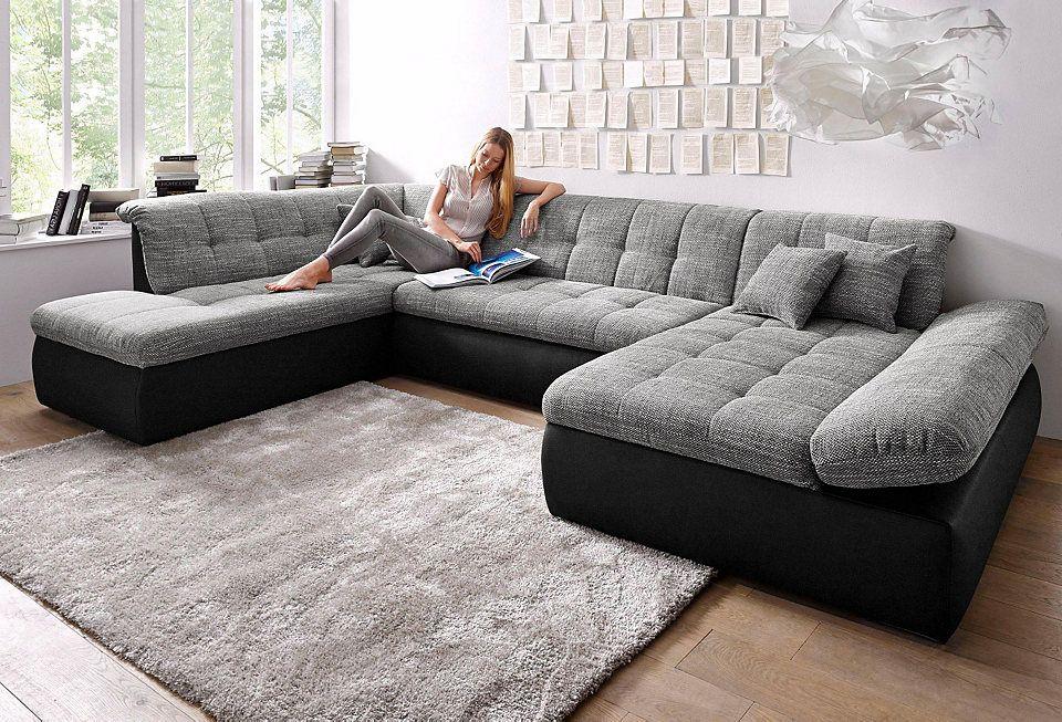 Wohnlandschaft Xxl Wahlweise Mit Bettfunktion Und Armlehnenverstellung Graues Esszimmer Wohnen Sofa Set Designs
