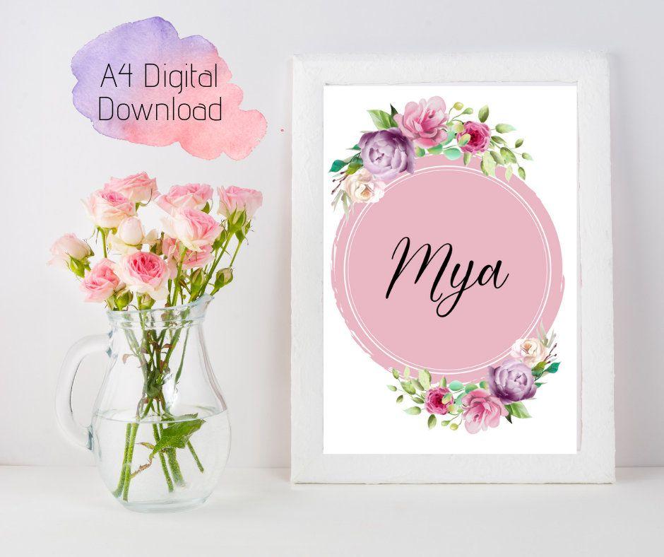 Boho Customised Nursery Name Digital Print Girls Room Instant Download Wall Art Digital Download Flowers Wreath B Nursery Name Custom Nursery Floral Art