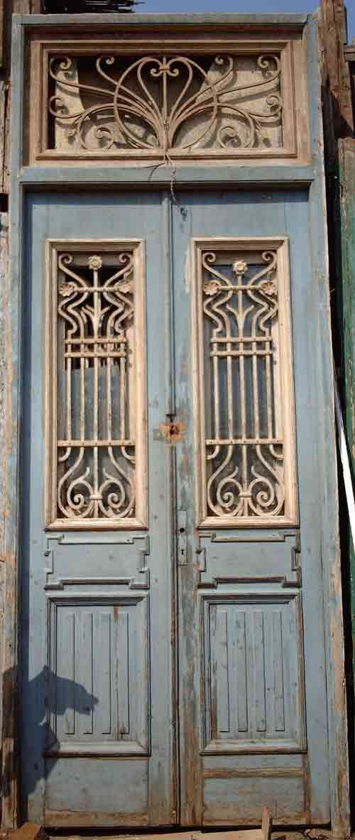 Narrow french colonial doors with iron insets this would for Narrow exterior french doors