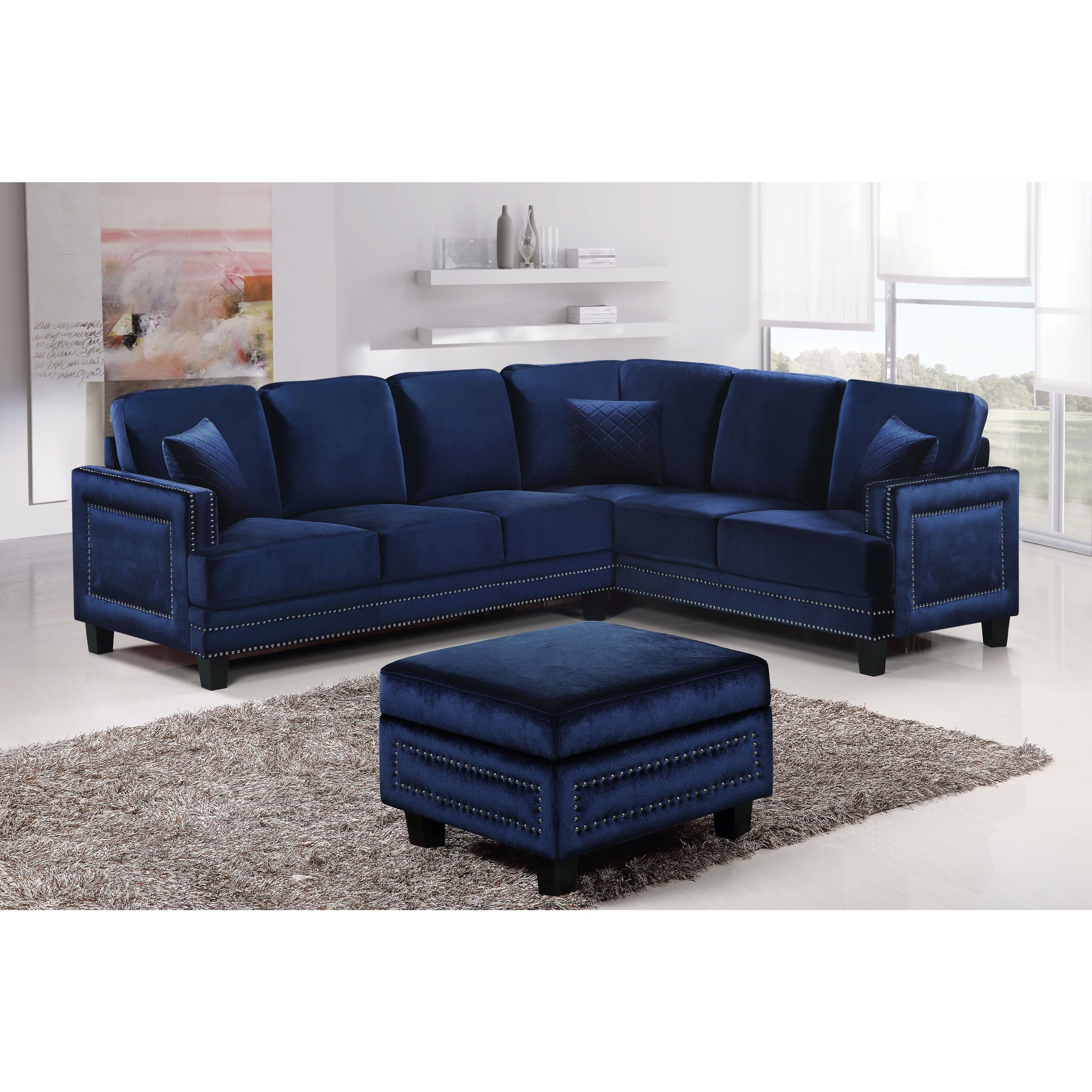 Best Meridian Ferrara Navy Velvet 3 Piece Set Living Room Sets 400 x 300