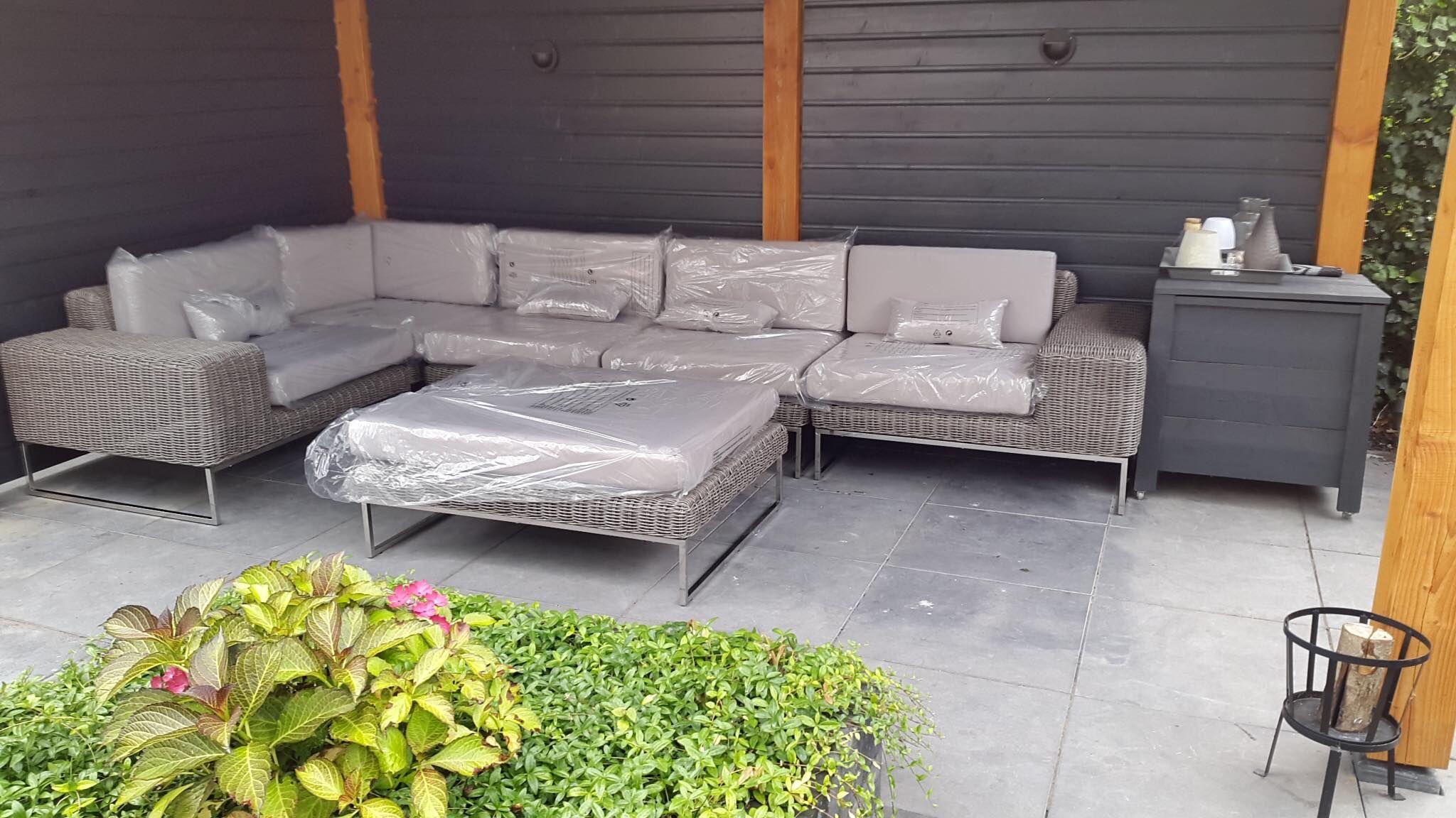 Lounge hoekbank lineo rondwicker grijs design by arbrini. deze