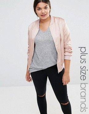 Missguided Plus Satin Bomber Jacket | Thick Chic | Pinterest ...