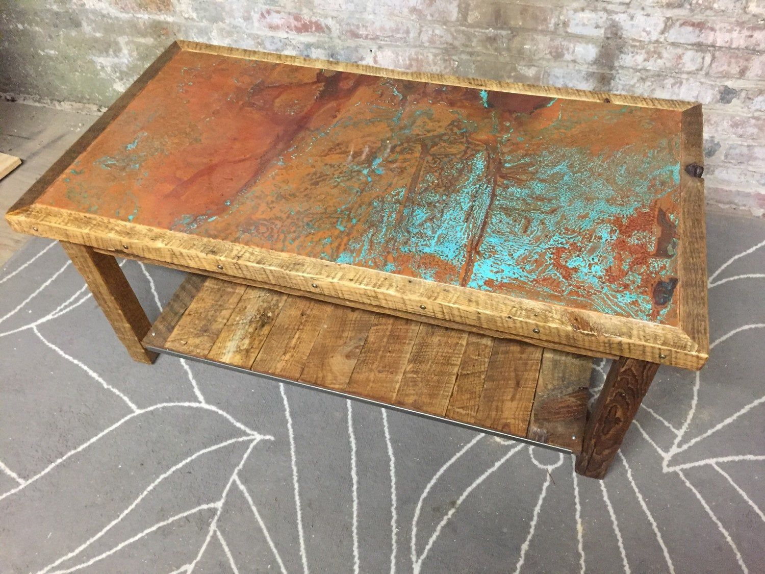 Coffee Table Etsy In 2020 Copper Coffee Table Coffee Table Wood Reclaimed Wood Coffee Table [ 1125 x 1500 Pixel ]