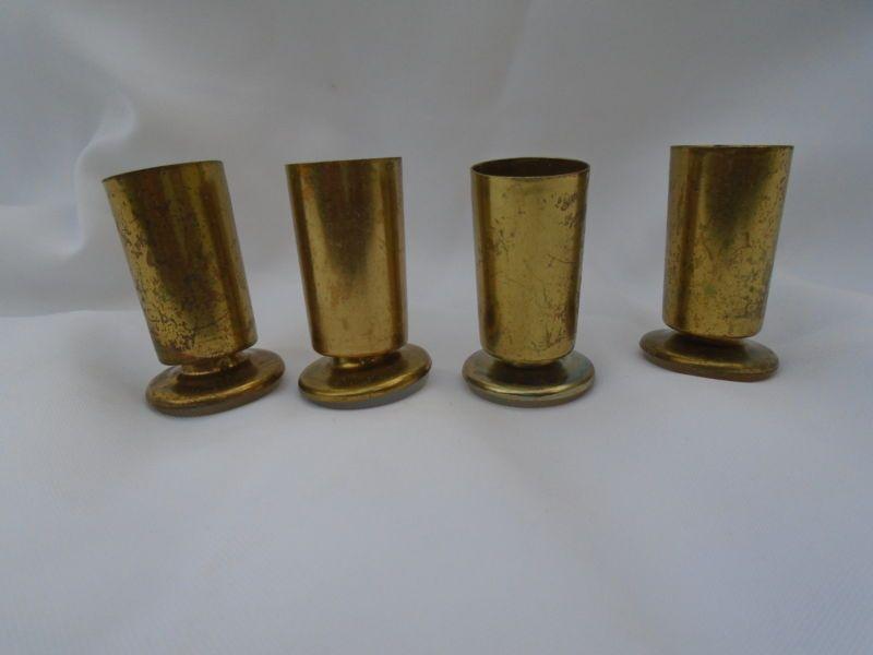 4 Vintage Chair Feet Ferrules Sabots End Caps Mid Century Modern Furniture  Brass. 4 Vintage Chair Feet Ferrules Sabots End Caps Mid Century Modern