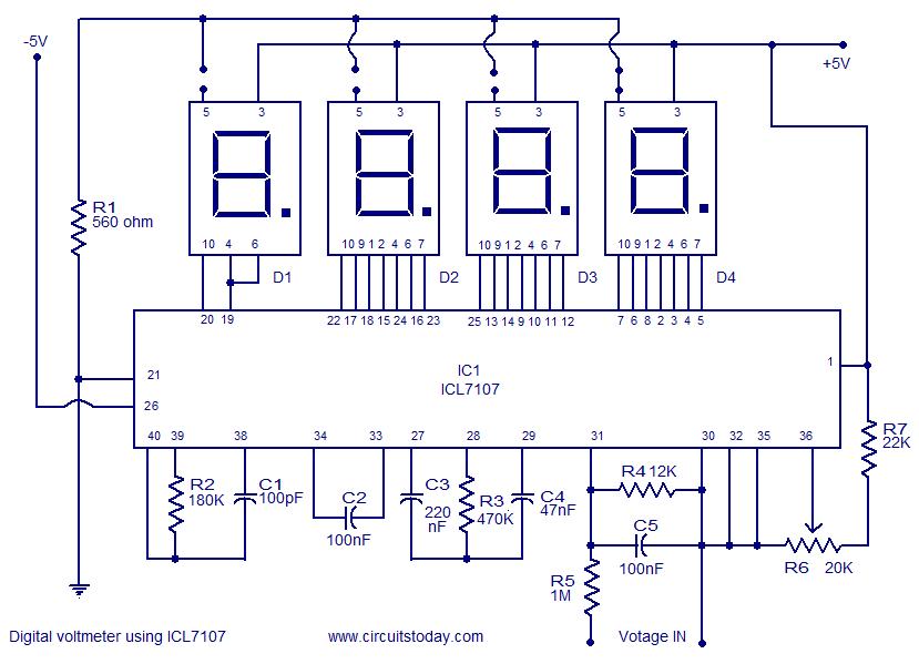 digital voltmeter using icl7107 elektronik eleman pinterest Auto Voltmeter Wiring-Diagram volt meter wiring diagram for dc Sunpro Voltmeter Wiring-Diagram Alternator to Voltmeter Wiring-Diagram 12 Volt Battery Gauge Wiring