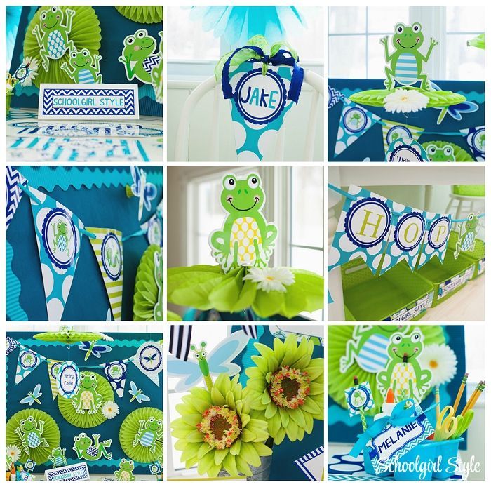 Frogs Chevron Dragonflies Polka Dots Navy Turquoise Lime Green Blue Stripes Clroom Theme And Decor By School Style