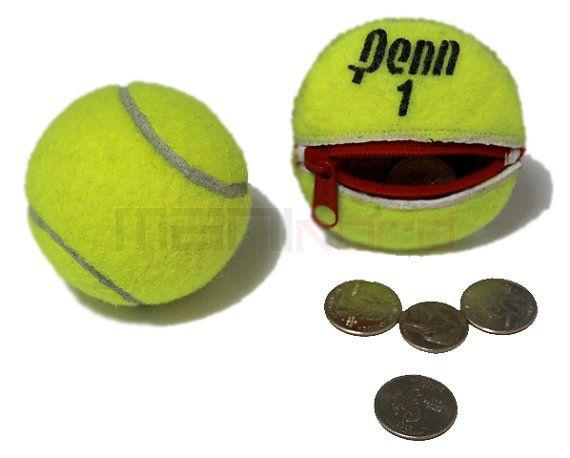 Handmade Recycled Tennis Ball Round Compact Change Holder