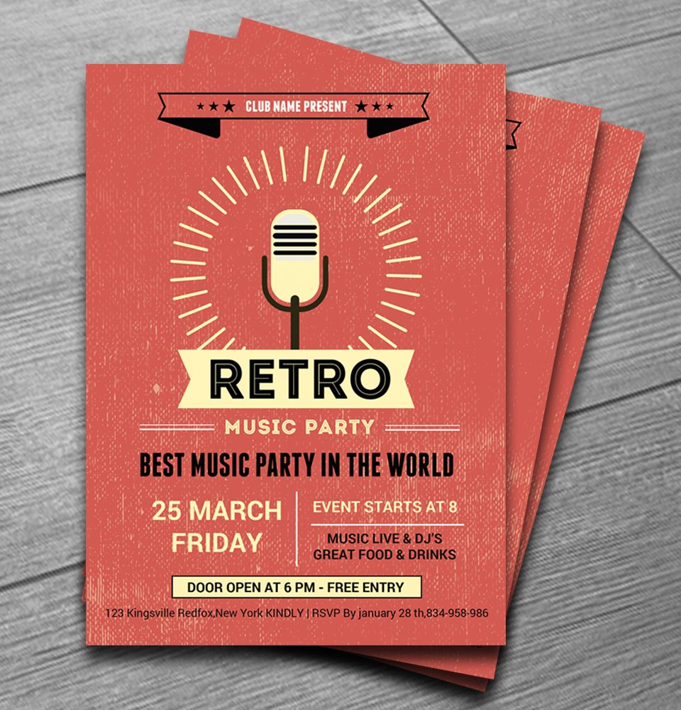 Retro Music Club Party Flyer … | Flyer Ideas | Flyer Design ...