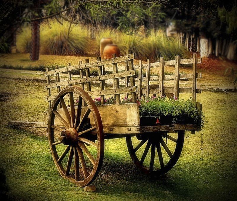 Картинка деревянная телега