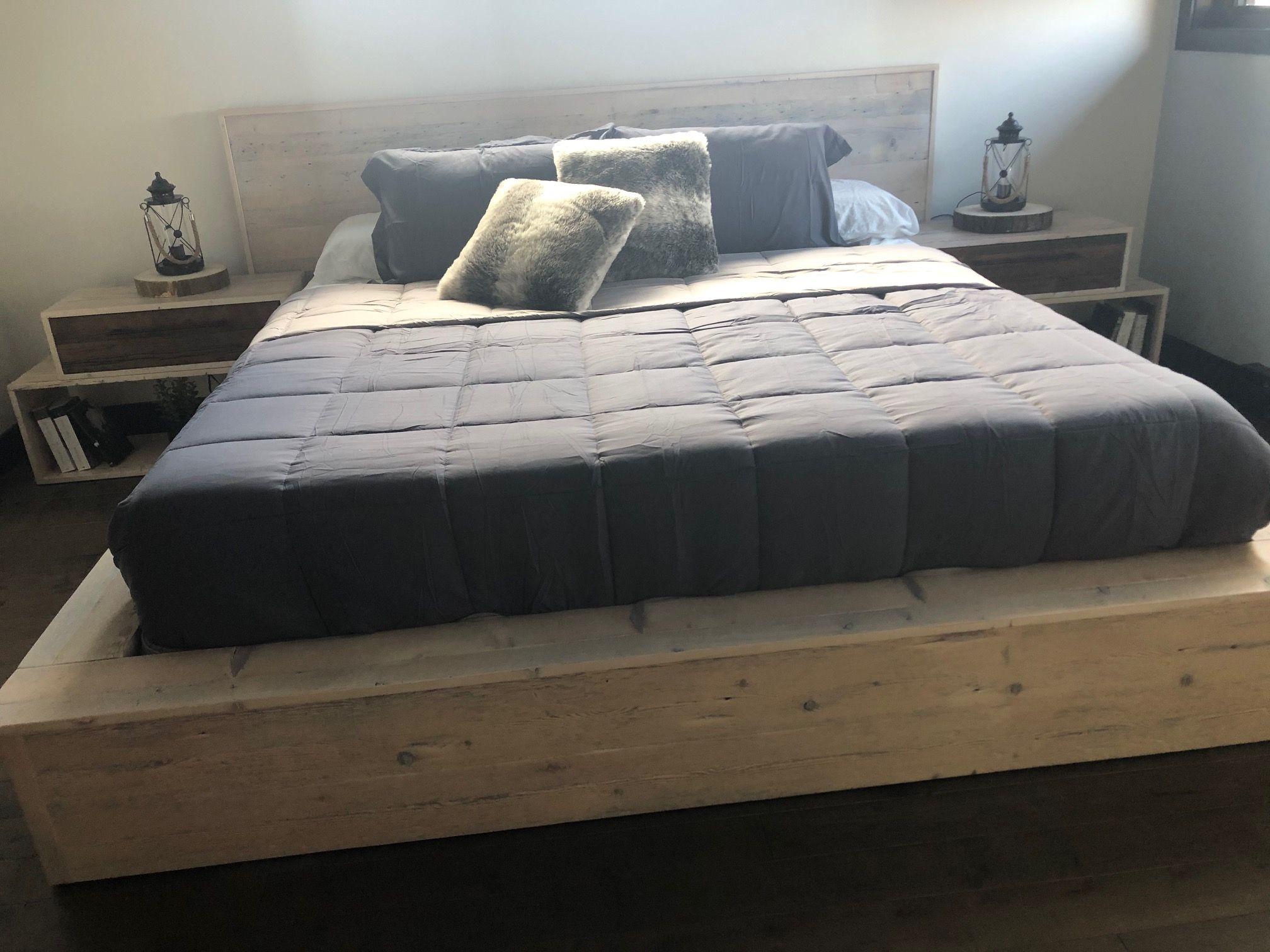 Base De Lit Et Tables De Chevet St Raymond Format King 4 Tiroirs Bois De Grange Blanche Doree Tiroir Surmesure Lusine Home Decor Furniture Bed