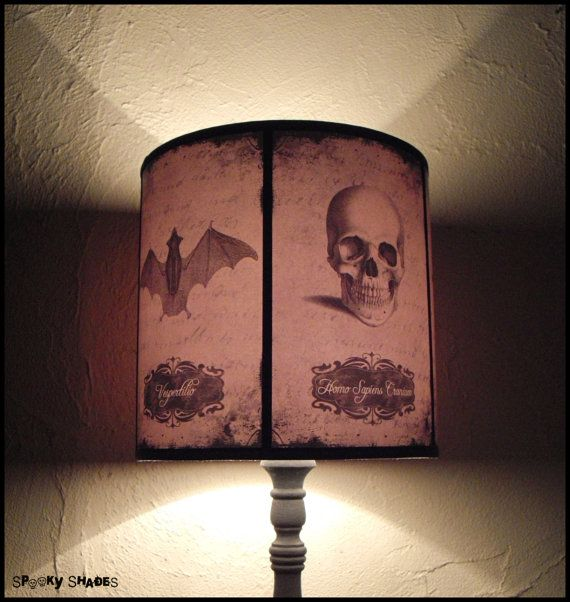 Halloween curiosities lamp shade lampshade skull lamp cabinet of halloween curiosities lamp shade lampshade skull lamp cabinet of curiosities gothic lamp halloween decor raven crow owl bat spider dulce hogar aloadofball Image collections