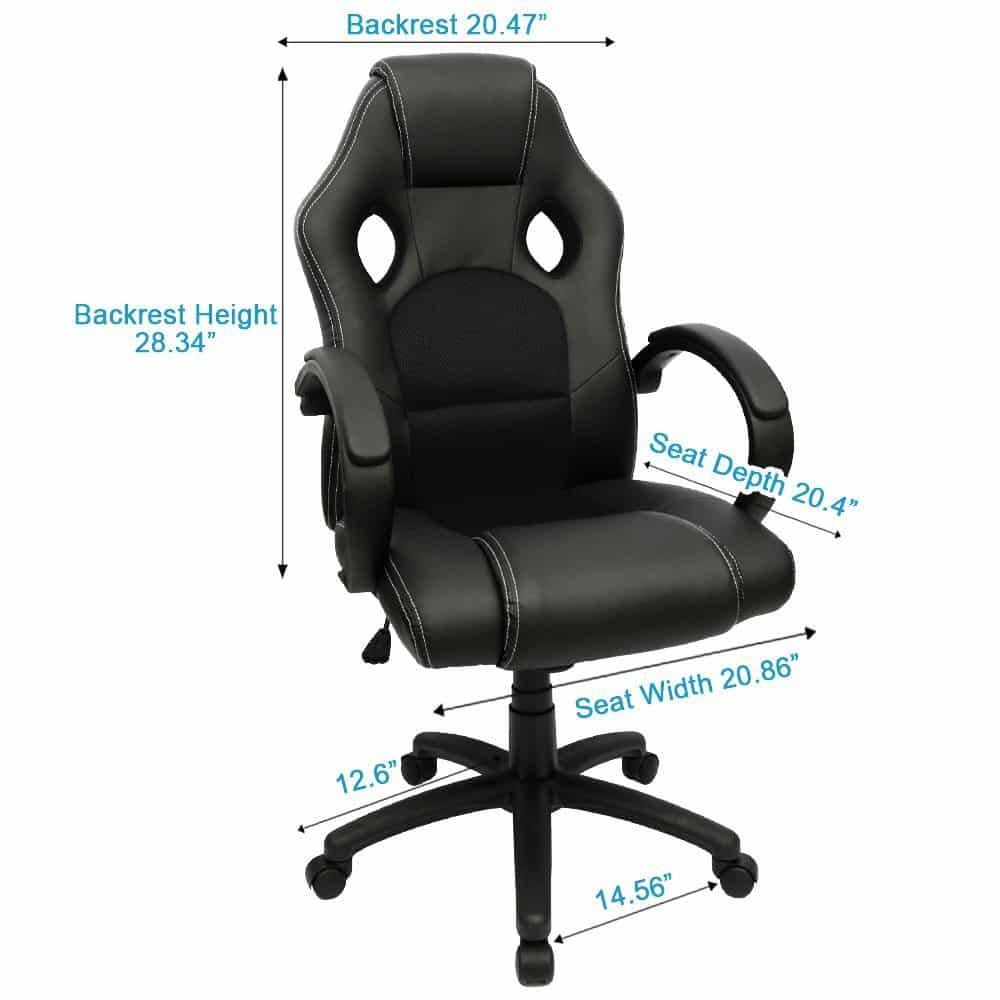 Furmax Office Chair High Back PU Leather Computer Chair, Ergonomic Racing  Chair,Desk Chair Swivel Executive Gaming Chair Headrest Andu2026