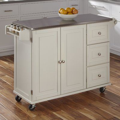 Andover Mills Kuhnhenn Kitchen Island With Stainless Steel Top