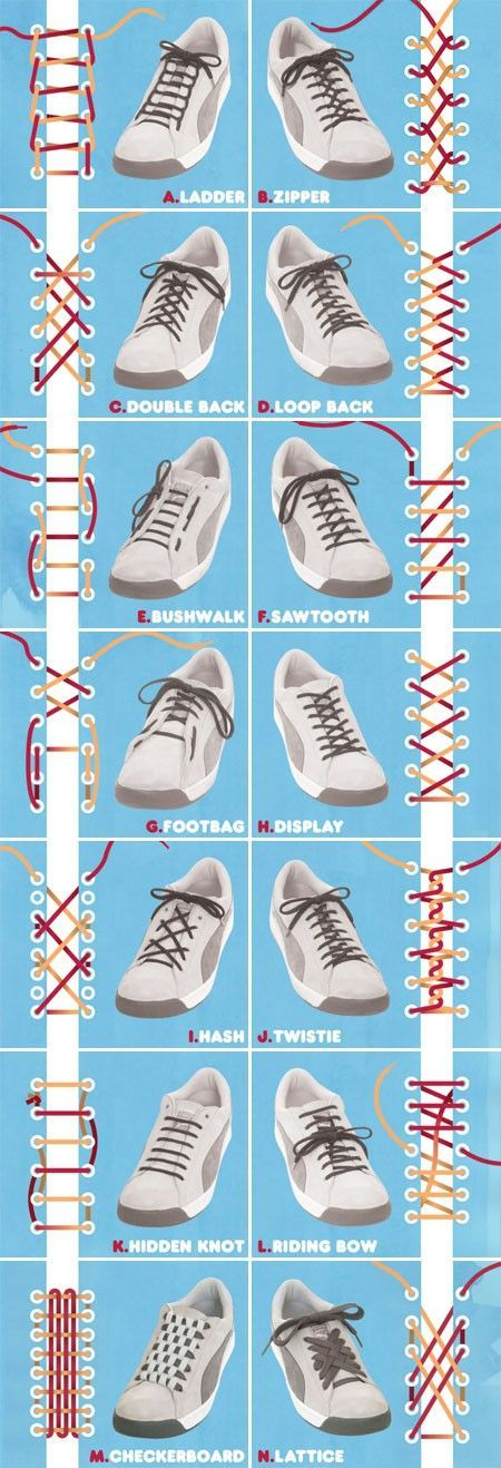 Cool ways to lace up your shoes!  #coolideas