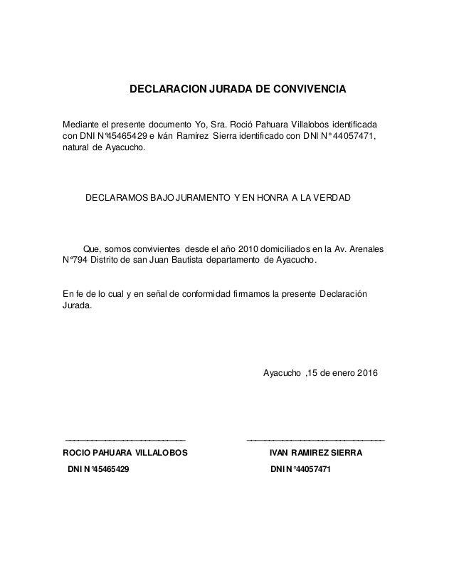 DECLARACION JURADA DE CONVIVENCIA Mediante el presente documento Yo ...