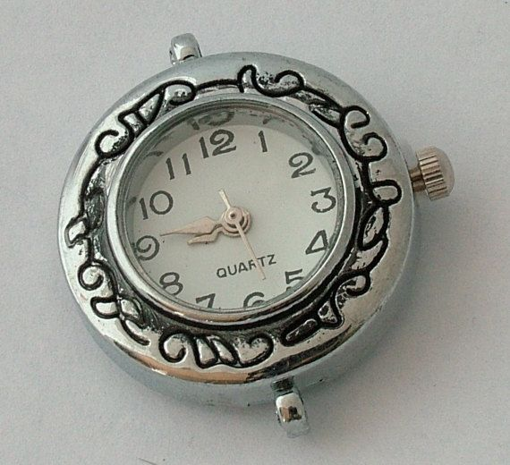 1 round shaped Antiqued Silver Tone Quartz Watch Face - craft supplies, jewelry making W36AS by AndreasArtJewelry on Etsy