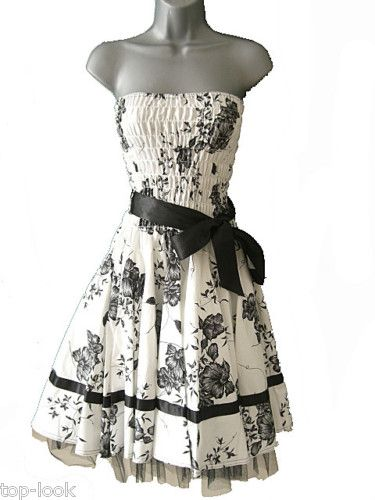 BLACK & WHITE FLORAL 50\'S ROCKABILLY PROM DRESS 6 - 20 | Clothes and ...