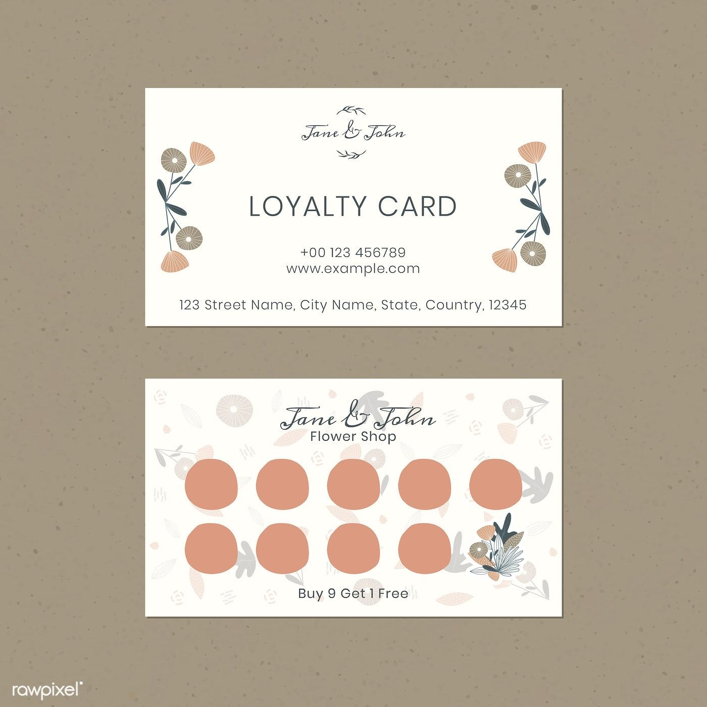 Download Premium Vector Of Floral Loyalty Card Design Vector 1218416 Loyalty Card Design Loyalty Card Loyalty Card Template