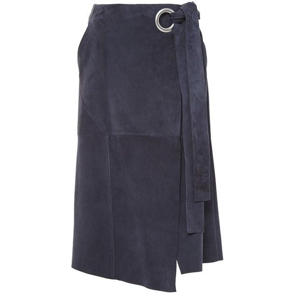 Tibi Tundra Navy Suede Wrap Skirt ($995) ❤ liked on Polyvore featuring skirts, tibi, navy blue skirt, eyelet skirt, navy eyelet skirt and tibi skirt