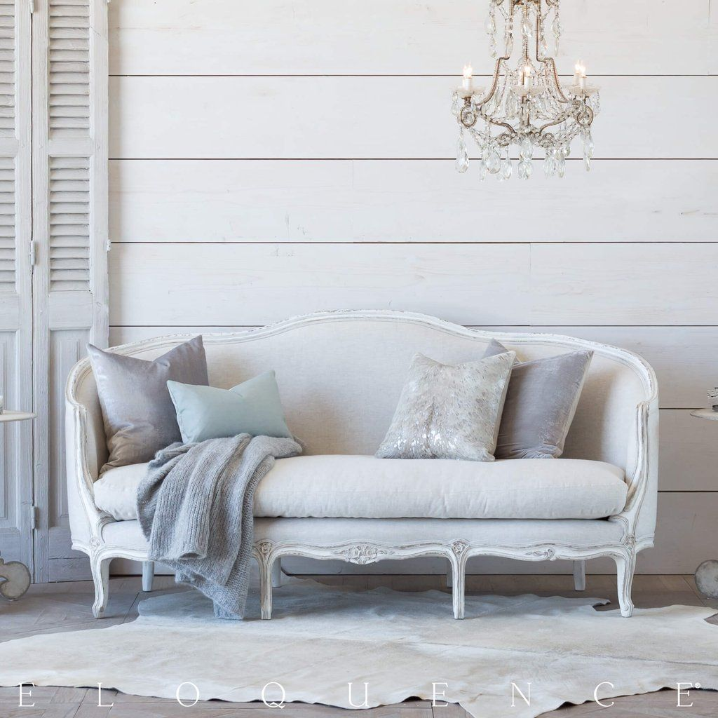 Eloquence® Seraphine Canape Sofa in Fog Linen and Gesso and Oyster Finish #gesso