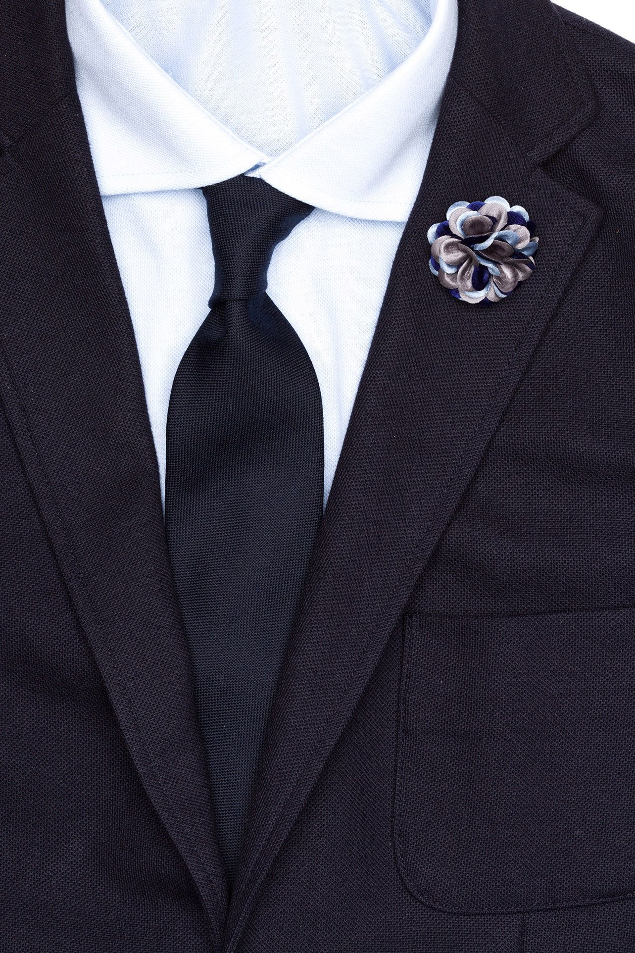 Lapel Flower at hook + ALBERT in grape jam, blue star, dodge, siena, birch, firemouth, hunter, firebrick, gainsboro, steel blue, gardenia, jonquil, fern, orchid, aster, pronie, spruce, rhododendron