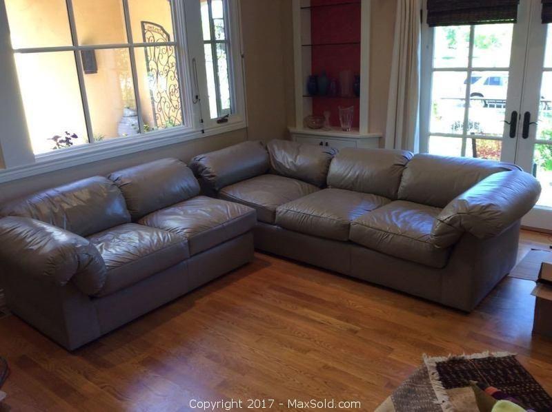 Italian Leather Sectional Sofa - C