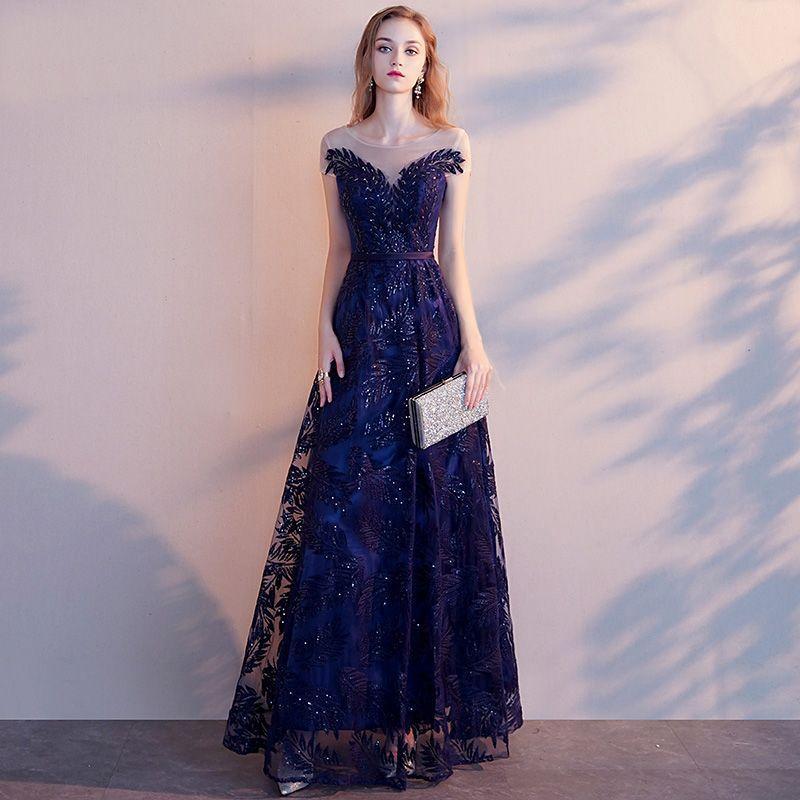 a05562e889 Piękne Granatowe Sukienki Wieczorowe 2019 Princessa Wycięciem Frezowanie  Cekiny Z Koronki Kwiat Szarfa Kótkie Rękawy Bez Pleców Długie Sukienki  Wizytowe
