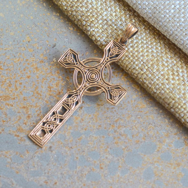 Long Celtic Cross Pendant, Celtic Knot, Circle, Cross with Ring, Golden Bronze, Cross Pendant, Bronze Pendant, Celts, Symbols, One Pendant by WanderlustWorldArts on Etsy