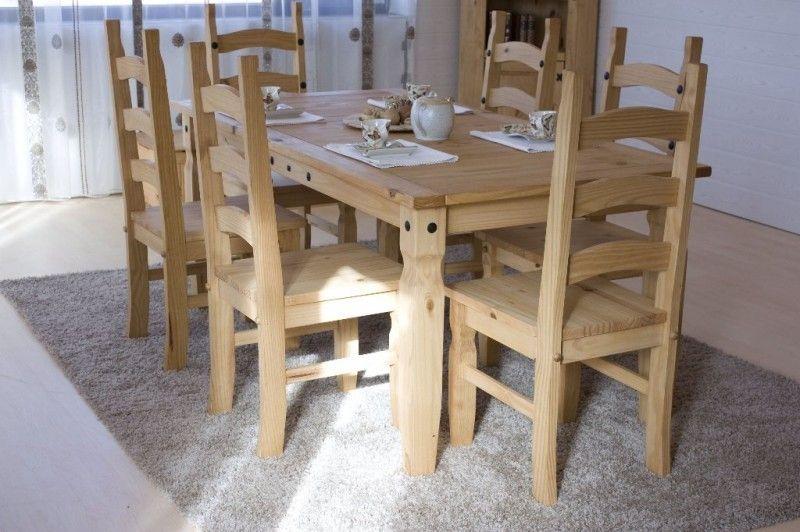 Essgruppe 140cm Mexico - Esstisch \ 4 Stühle - Pinie massiv - küchentisch mit stühlen