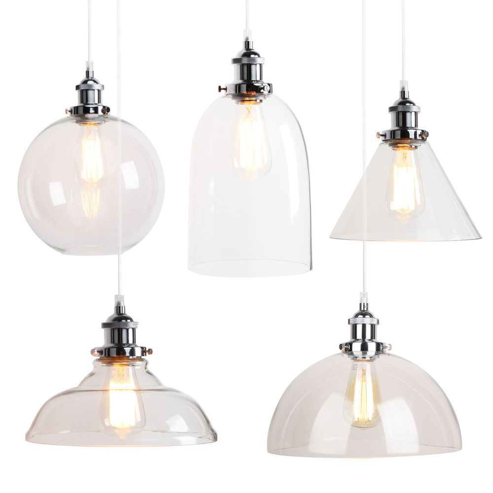 Vintage Industrial Filament Clear Glass Brass Chrome Pendant Lamp Hanging Light In Home Furniture