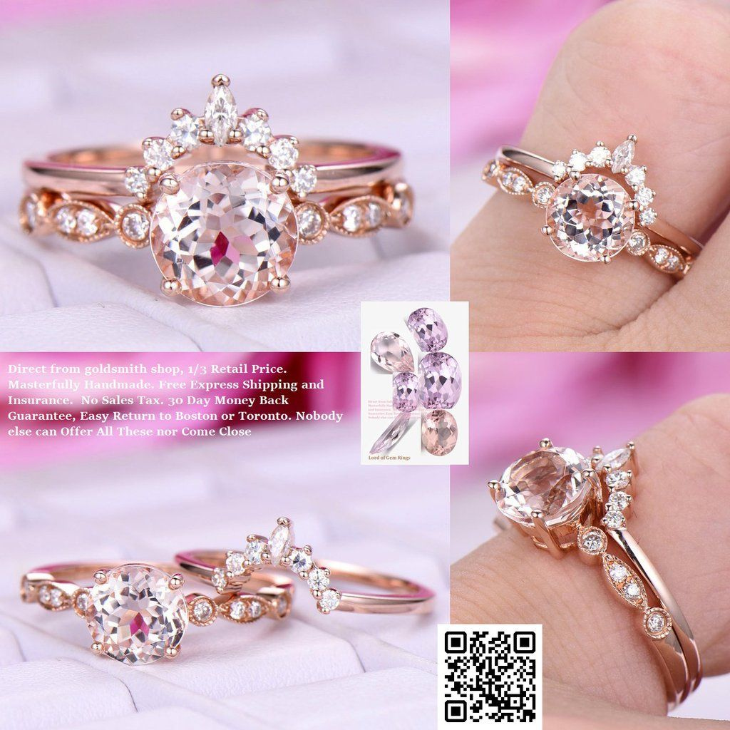 Round Morganite Engagement Ring Sets Moissanite Tiara Ring 14k Rose ...