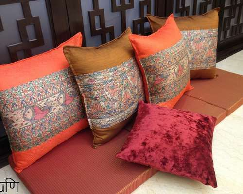 Hand Painted Cushion Covers For Traditional Living Room.