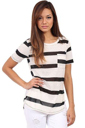 White & Black Stripe Burn Out Tee at Blush Boutique Miami - ShopBlush.com