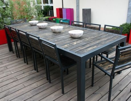 Beautiful grande table jardin bois images design trends 2017