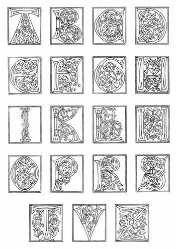 Free educational and fun coloring page celtic style for Illuminated alphabet templates