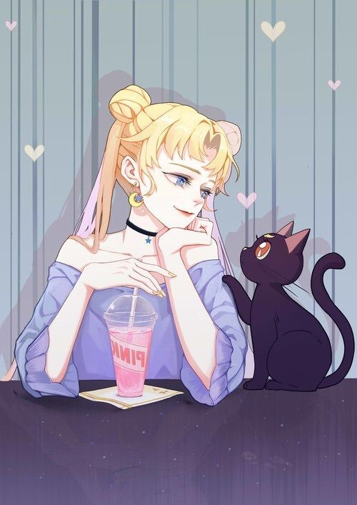Photo of sailor moon, anime, and cat image