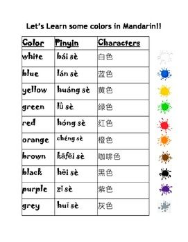 Chinese Mandarin Colors and Practice Worksheets, English