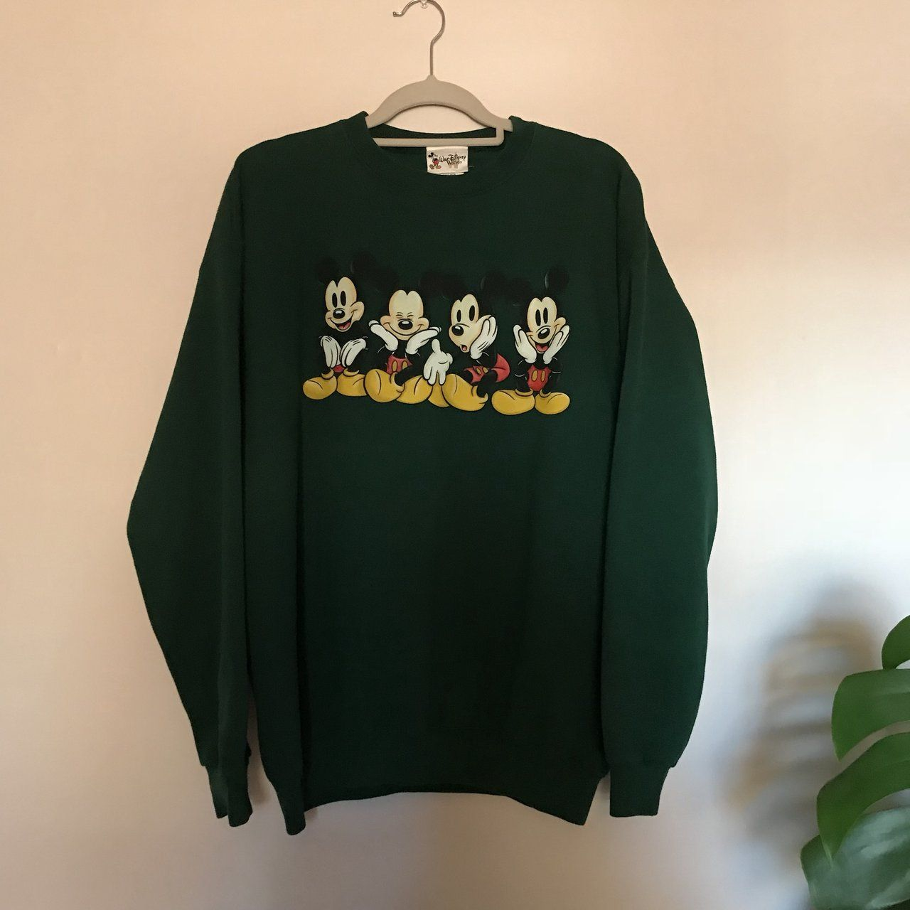 Forest Green Mickey Mouse Disney Sweatshirt Size Extra Say Depop Clothes Stylish Hoodies Cute Casual Outfits [ 1280 x 1280 Pixel ]