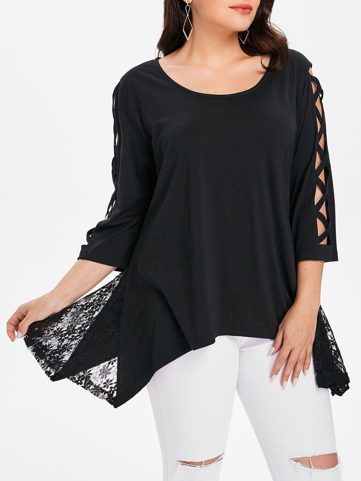 323a67fd7e3 Lace Panel Plus Size Asymmetrical Top  pretty blouses  beautiful blouses   designer blouses  holiday blouses  blouses outfit fall  womens blouses  fashion ...