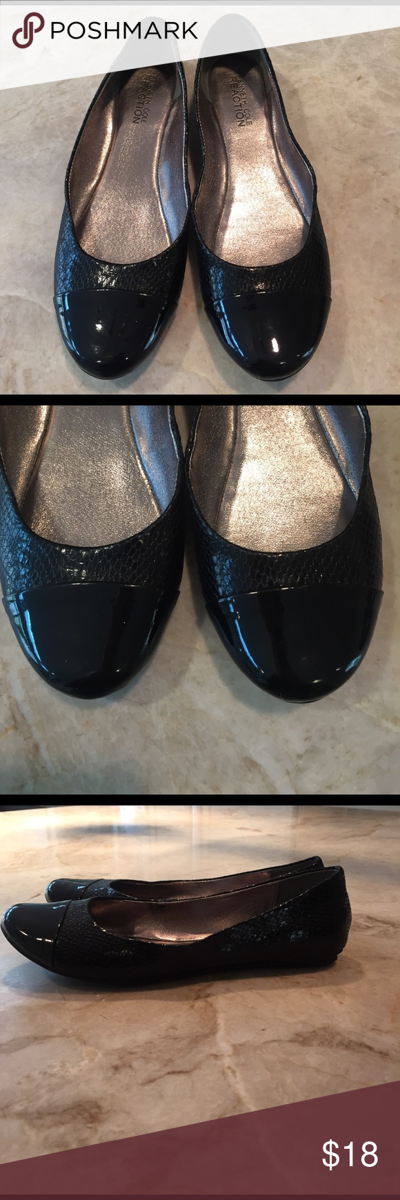 Kenneth Cole reaction ballet flats Black patent capped ballet flats Kenneth Cole Reaction Shoes Flats & Loafers