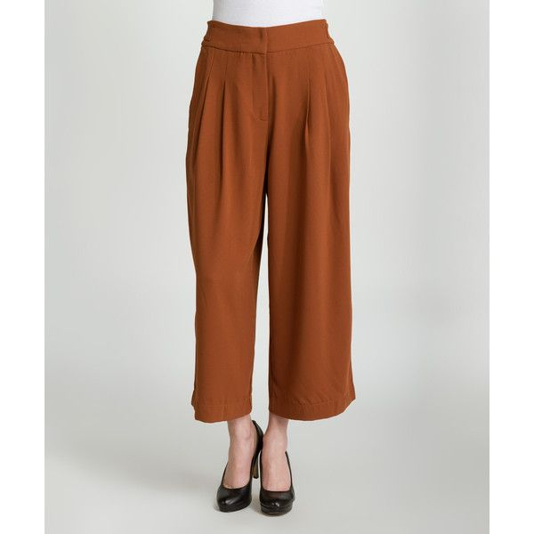 C. Luce Camel Gaucho Pants ($30) ❤ liked on Polyvore featuring pants, capris, relaxed pants, camel pants, gaucho pants, brown pants and brown gaucho pants