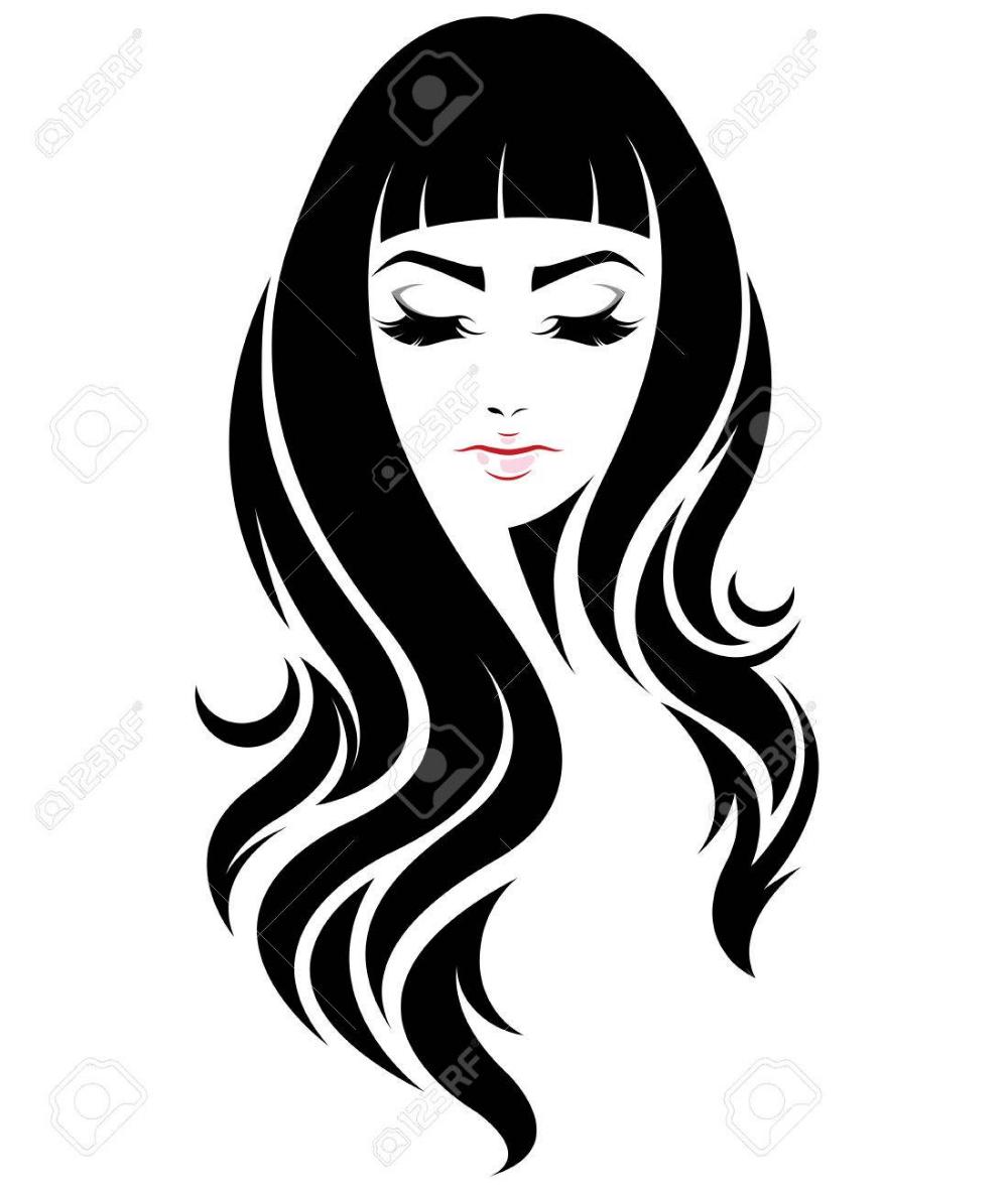 Illustration Of Women Long Hair Style Icon Logo Women Face On In 2020 Woman Face Long Hair Styles Style Icon