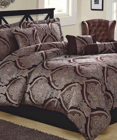 Look what I found on #zulily! Chocolate Jacquard Scroll Comforter Set #zulilyfinds