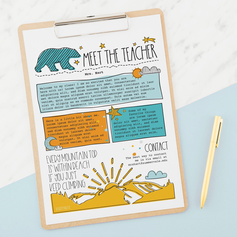 Mountains Meet the Teacher Flyer - Bonus Sign In Sheet - Edit Now - Instant Download - Teacher Templates Resources Editable PDF PNG