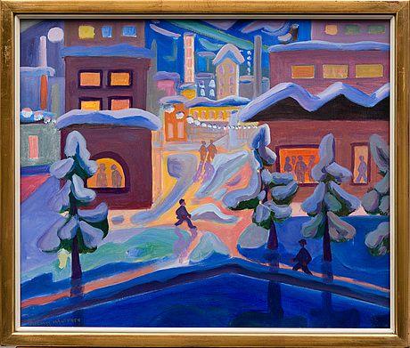 Tuomas Mäntynen: Talvi-ilta kaupungissa, 1989, öljy kankaalle, 46x55 cm - Bukowskis Market 2015
