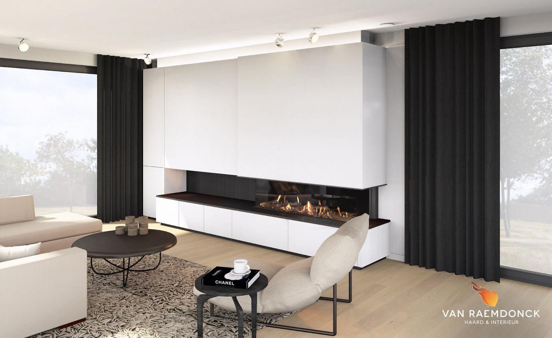 Moderne Gashaard Met Schuifwand Voor Tv Van Raemdonck Haard  # Moderne Table A Tv