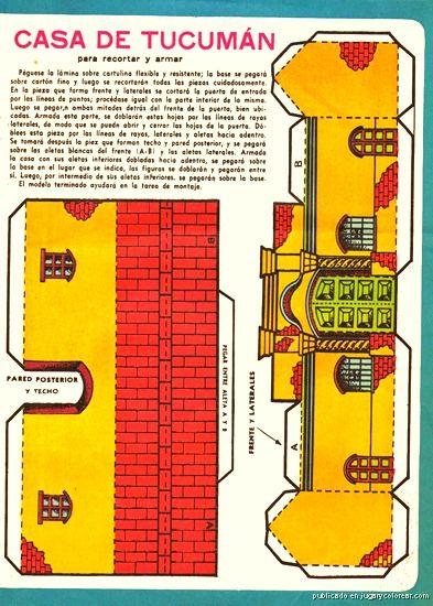 casita de tucuman para armar jugarycolorear  Maquetas  Pinterest