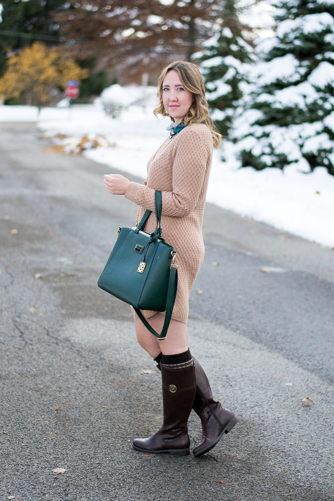 Holiday outfit idea by Emillion Thoughts // sweater dress, Loft ...